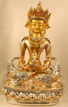 Amitabha Buddha, Asian Art, Hand Carved, Saints, Carving, Statue, Goddesses, Gold, Kunst