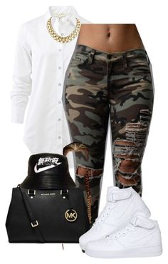 """Going to the mall w/ sister"" by deasia-still-thugin-honey ❤ liked on Polyvore featuring uroda, rag & bone, MICHAEL Michael Kors, Retrò i NIKE"