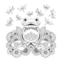 Frog Artist Johanna Basford Enchanted Forest Coloring pages Garden Flower colouring adult detailed advanced printable Kleuren voor volwassenen coloriage pour adulte anti-stress kleurplaat voor volwassenen Line Art Black and White Färbung für Erwachsene coloriage pour adultes colorare per adulti para colorear para adultos раскраски для взрослых omalovánky pro dospělé colorir para adultos