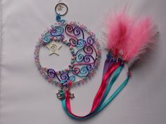 Hand made twirly moon dream catcher. Wire work Made with love. Custom orders created in your own colours  Pop me a message on my facebook page or check out my shop link   www.facebook.com/theshinyzone