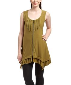 Loving this Pea Green Layered Handkerchief Zip-Up Tunic on #zulily! #zulilyfinds