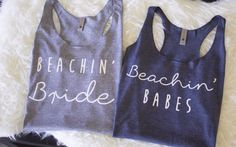 Beachin' Bride Bachelorette Party Tank Top by BachelorettePartyTee - Tap the link now to see all of our cool cat collections!