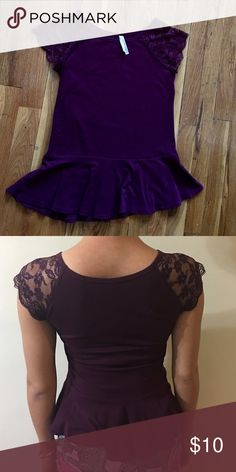 Peplum Top Comfy, flattering top with gorgeous lace sleeves. In great shape! Cool Story Tops Blouses