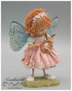 fairy puppets / fotogalerij | enaidsworld Polymer Clay Fairy, Polymer Clay Dolls, Elves And Fairies, Clay Fairies, Little Girl Illustrations, Glitter Balloons, Fairy Figurines, Baby Fairy, Tiny Treasures