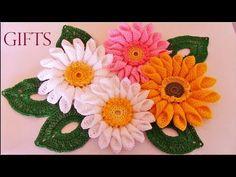 Como tejer fácil rápido ramo de margaritas para mamá-Make quick and easy knitting beautiful flowers - YouTube