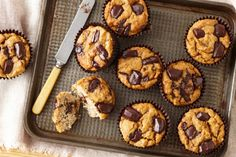 Banana coconut chocolate muffins.  Indulge in these healthier banana muffins. The whole family will love them! taste.com.au
