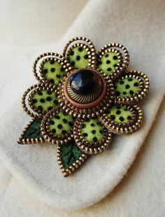 Lime green flower brooch by woolly  fabulous, via Flickr