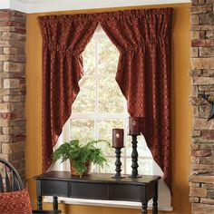 Wine Campbell Lined Gathered Curtain Swag 72 x 63