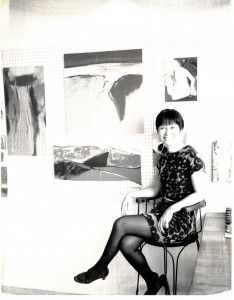 Writer and artist Diana Chang in her New York City apartment, undated (Special Collections, Stony Brook University Libraries).