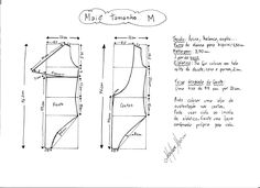 Esquema de modelagem de maiô tamanho M.