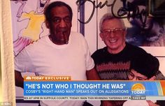 """An old picture of Bill Cosby with Frank Scotti, his """"right hand man"""" back in the day who at age 90, is finally admitting to the role Scotti played in procuring women for Cosby to use and abuse and funneling huge bucks to Cosby's """"virtual harem"""". And, Scotti now feels sorry for all the women now coming forward to out Cosby as the serial rapist who drugged women and got them drunk so he could abuse them."""