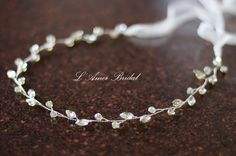 Rustic  Tiara Circlet Bridal Wedding Crown made with Silver rhinestone ,bridal hair vine by LAmei on Etsy