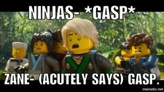 Zane is hilarious in this movie Ninjago Kai, Ninjago Memes, Lego Ninjago Movie, Lego Movie, Lego Memes, Haha Funny, Funny Memes, Jokes, Hilarious