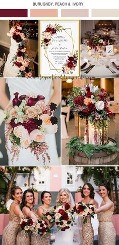 vibrant burgundy,peach pink and gold fall wedidng colors burgundy wedding 5 Amazing Wedding Color Palettes Inspired by EWI Floral Invitations Romantic Wedding Colors, Fall Wedding Colors, Wedding Color Schemes, Perfect Wedding, Dream Wedding, Wedding Day, Gown Wedding, Lace Wedding, Wedding Cakes