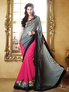 Grey and Pink Faux Georgette Saree with Embroidery Work