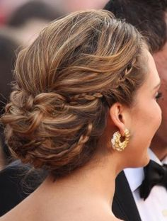 Loose updo with braids