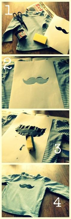 DIY Clothes DIY Refashion: DIY Kids Moustache Tshirt Cover up stains on…