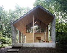 omizubata N house by iida archiship studio reframes the gable. Beautiful forest home in Japan.