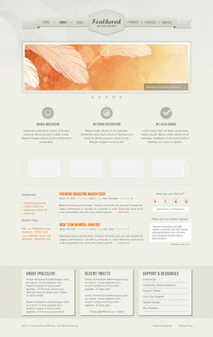 Feathered - Free HTML Template Blog Design, App Design, Free Html Website Templates, Beautiful Web Design, Web Design Inspiration, Design Ideas, Scrapbook Templates, Photoshop Tutorial, Design Agency