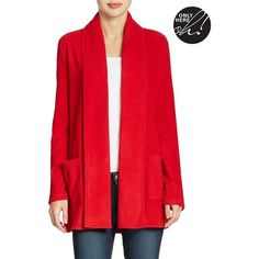 Lord & Taylor Fleece Cardigan Women's Dark True Red X-Small featuring polyvore, fashion, clothing, tops, cardigans, dark true red, petite, lord & taylor, red top, petite tops, petite cardigan and fleece cardigan