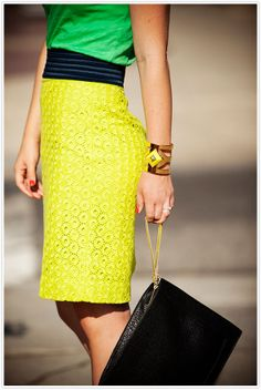 neon trending with a classic belted waist. {camille styles}