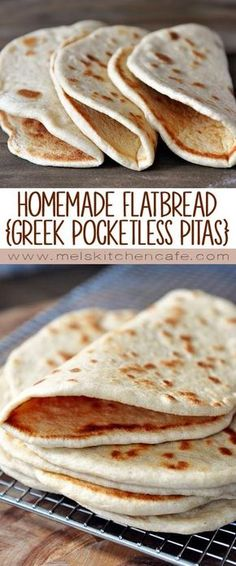 Flatbread (Greek Pocketless Pitas) Flatbread is yummy. Soft, fluffy homemade flatbread is even yummier!Flatbread is yummy. Soft, fluffy homemade flatbread is even yummier! Good Food, Yummy Food, Tasty, Cuisine Diverse, Bread And Pastries, Mediterranean Recipes, Greek Recipes, Food To Make, Food And Drink