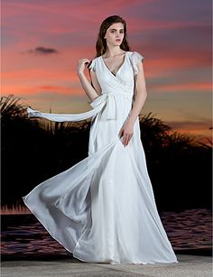 $99.99 -  Sheath / Column Wedding Dress - Classic & Timeless Simply Sublime Floor-length V-neck Georgette withBow Criss-Cross Sash /,Shop for cheap Wedding Dresses online? Buy at Chinathebox.com on sale today!