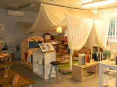 Draped learning stations for kids. I love this idea.