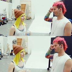 Hayley and Josh Dun>>>their hair looks like spongebob and Patrick