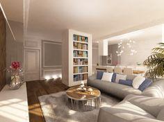 Elegancki salon wykończony w klasycznym stylu. Wnętrze w apartamencie w Warszawie w Eko Parku.