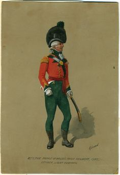 British; 87th (The Prince of Wales's Irish) Regiment of Foot, Officer Light Company 1793 by Richard Simkin. This was the year that the regiment was raised.