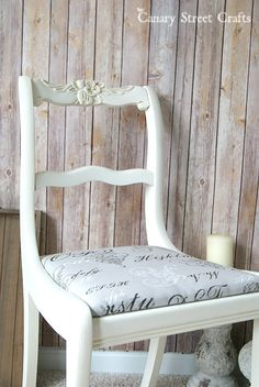 An upcycled chair is given new life with a few coats of Annie Sloan chalk paint and new fabric.