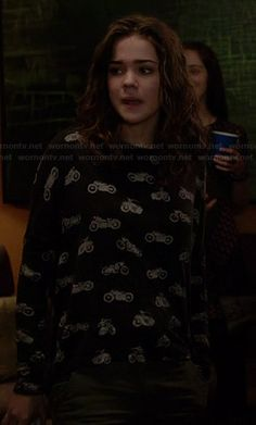 Callie's motorcycle print top on The Fosters.  Outfit Details: http://wornontv.net/27431/ #TheFosters