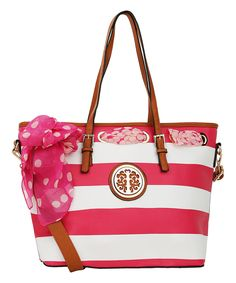 Take a look at this MKF Collection Fuchsia & White Stripe Scarf Tote today!
