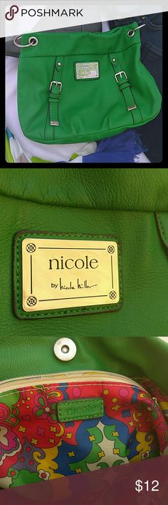 Green Nicole purse This medium sized Nicole by Nicole Miller purse makes any outfit pop. The faux leather exterior keeps it easy to clean. The only visible wear is on the strap which is shown in the last picture. That's why I priced it at such a deal!! Nicole by Nicole Miller Bags Satchels