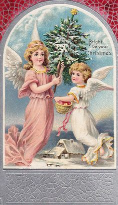 Christmas angels vintage postcard