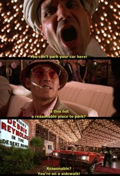 """""""Is this not a reasonable place to park?"""" Fear and loathing in Las Vegas. Johnny Depp Roles, Hunter Thompson, T Movie, Fear And Loathing, Hunter S, Film Quotes, Movies And Tv Shows, Haha, Leo Buscaglia"""