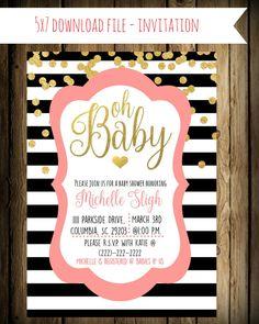 Kate Spade inspired Baby shower invitation - Custom- pink black and gold invitations - baby shower invitations- Girl baby shower invitations