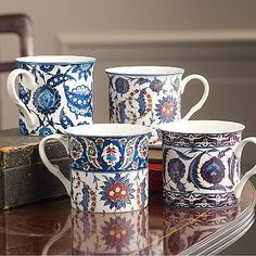 £29.99 Set of 4 bone-china mugs inspired by the Museum's collection of vibrant Islamic tiles made in the mid 16th century in Iznik from fritware with polychrome underglaze painting.