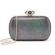 Diane von Furstenberg 'Evil Eye' Hologram Embossed Lizard Print Box... (44.250 HUF) ❤ liked on Polyvore featuring bags, handbags, clutches, grey, box clutch, hard clutch, gray handbags, metallic clutches and diane von furstenberg handbags