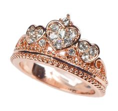 Rose Gold Heart Amore White Stone Crown Tiara Princess Ring