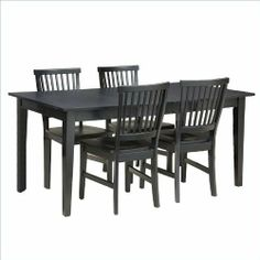 Home Style 5181-318 Arts and Crafts 5-Piece Rectangular Dining Set, Black Finish by Home Styles. $598.00. Table measures 66-inch width by 36-inch depth by 30-inch height. Comes with rich multistep black ebony finish. Made of hardwood solid and veneers. Arts and crafts 5 piece rectangular dining set. This set includes a dining table and four chairs. The arts and crafts five piece dining set includes a dining table and four chairs made of hardwood solids and veneers. Come...