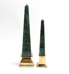 "A pair of vintage brass and green marble obelisks - Dim: 5.0"" W x 14.0"" H x 5.0"" D"