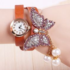9 colors New Fashion butterfly watches Leather strap watches women rhinestone Watches-in Women's Wristwatches from Watches on Aliexpress.com | Alibaba Group