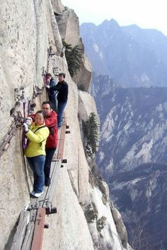 """China's Hua Shan plank walk  , often dubbed """"the most dangerous hike in the world"""", is quite possibly one of the most nauseating walks imaginable. 