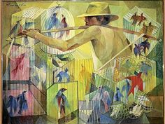 """MANILA, Philippines—A familiar-looking painting called """"The Bird Seller"""" was being offered by Christie's-Hong Kong for its Asian Century Art auction on . Filipino Art, Philippine Art, Beautiful Paintings, Beautiful Images, Vintage Artwork, Global Art, Art Auction, Contemporary Paintings, Photo Art"""