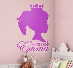 Make your kids bedroom more personal and unique to them with this wall sticker of a portrait of their actual head and face, as well as their name! Create an original atmosphere that little girls will love. #Princess #Personalised #Decoration