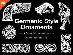 » Graphics Sets Viking Age Art, Viking Ornament, Viking Books, Nordic Tattoo, Celtic Symbols, Ornaments Design, Art Series, Animal Heads, Leather Design