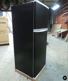 Chalkboard Fridge + Matte Black Wrapped Cupboards & Drawers   de creative