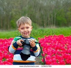 Tulips Park Kid Stock Photography | Shutterstock